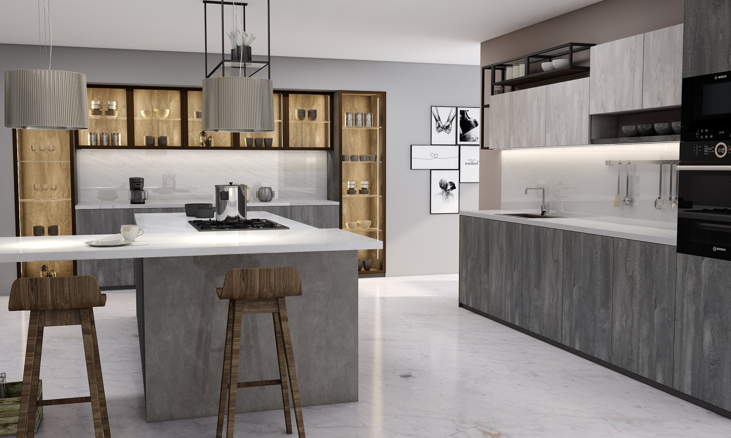 Easyline Handle Kitchen in Concrete Flow & Iron  Flow Textured Finish With Glass Cabinets