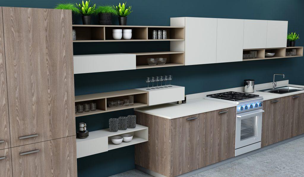 Easyline kitchen with Alcove in Brown Orleans Oak woodgrain & Cream matt finish