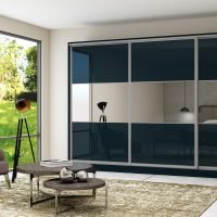 Fitted Sliding Wardrobe With Three Panels With Combination of Demin Glass and Mirror