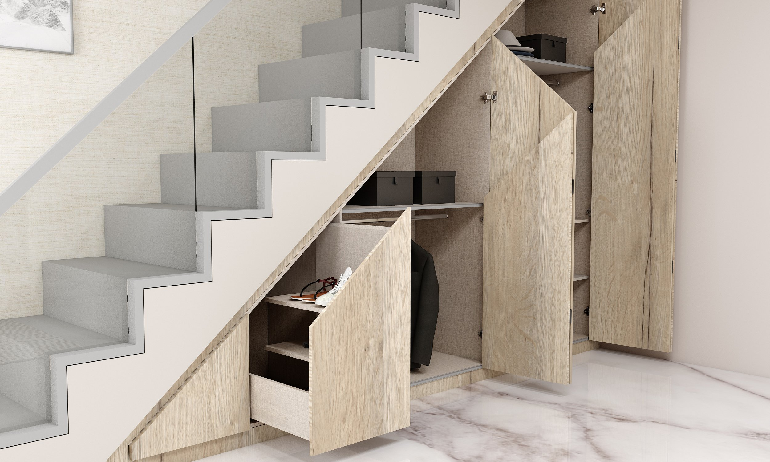 Fitted Folding Door Wardrobe Under Staircase Area