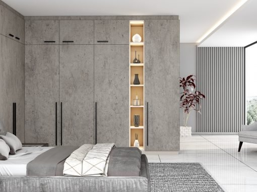 Fitted Hinged Corner Wardrobes in Concrete in Silver White