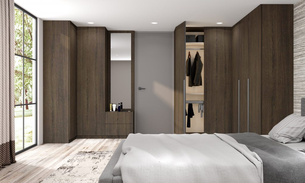 Fitted Hinged Corner Wardrobes in woodgrain finish