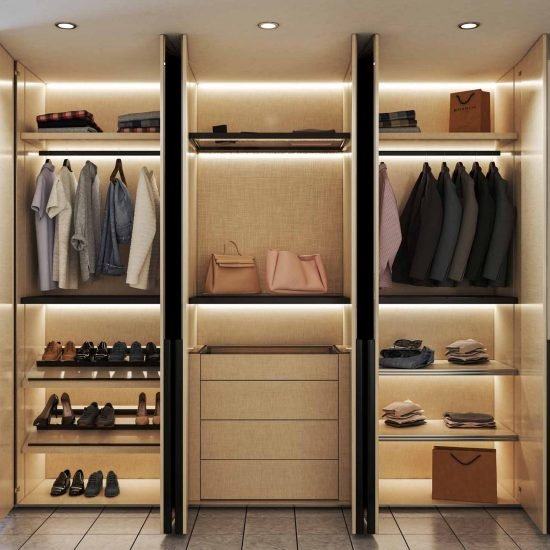 Fitted Hinged wardrobe with bronze mirror