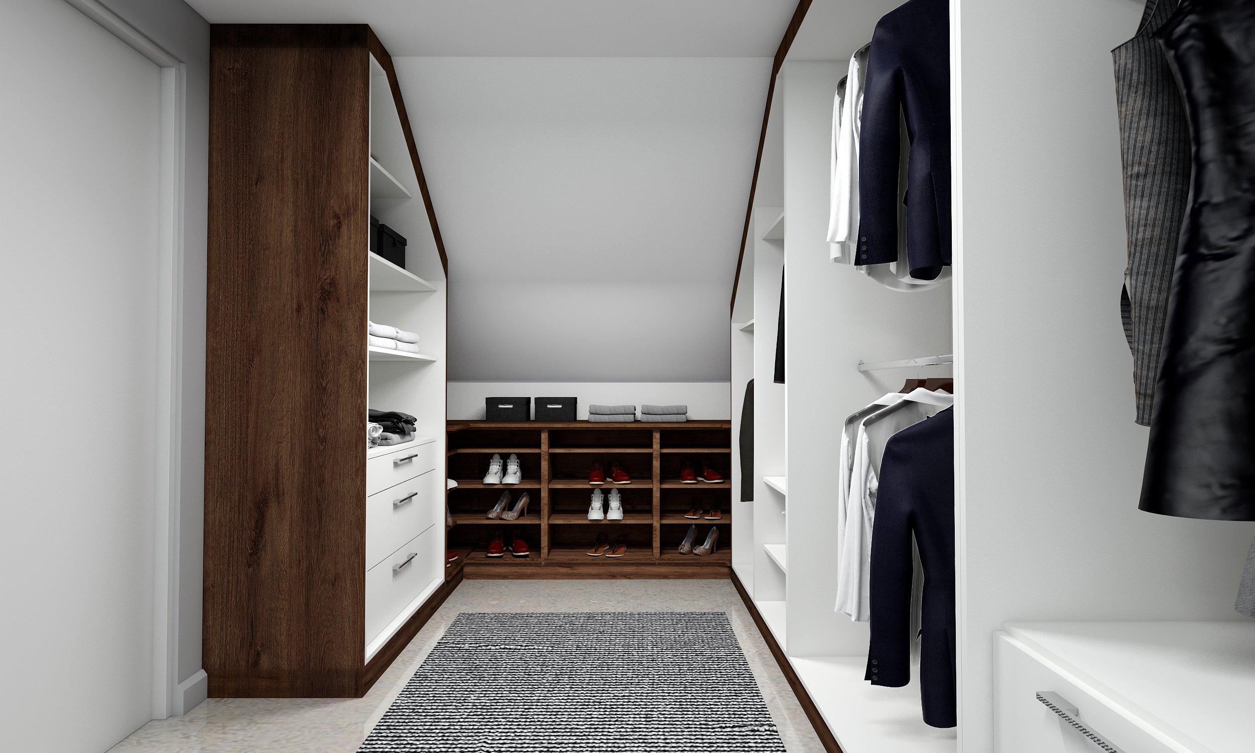 Fitted Loft Storage wardrobe dark walnut and white finish