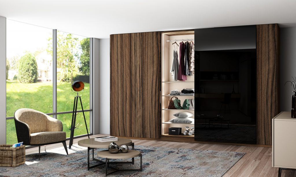Fitted Sliding Wardrobe with frameless Top hung Doors in Combination of Dark Iberian Olive and Black