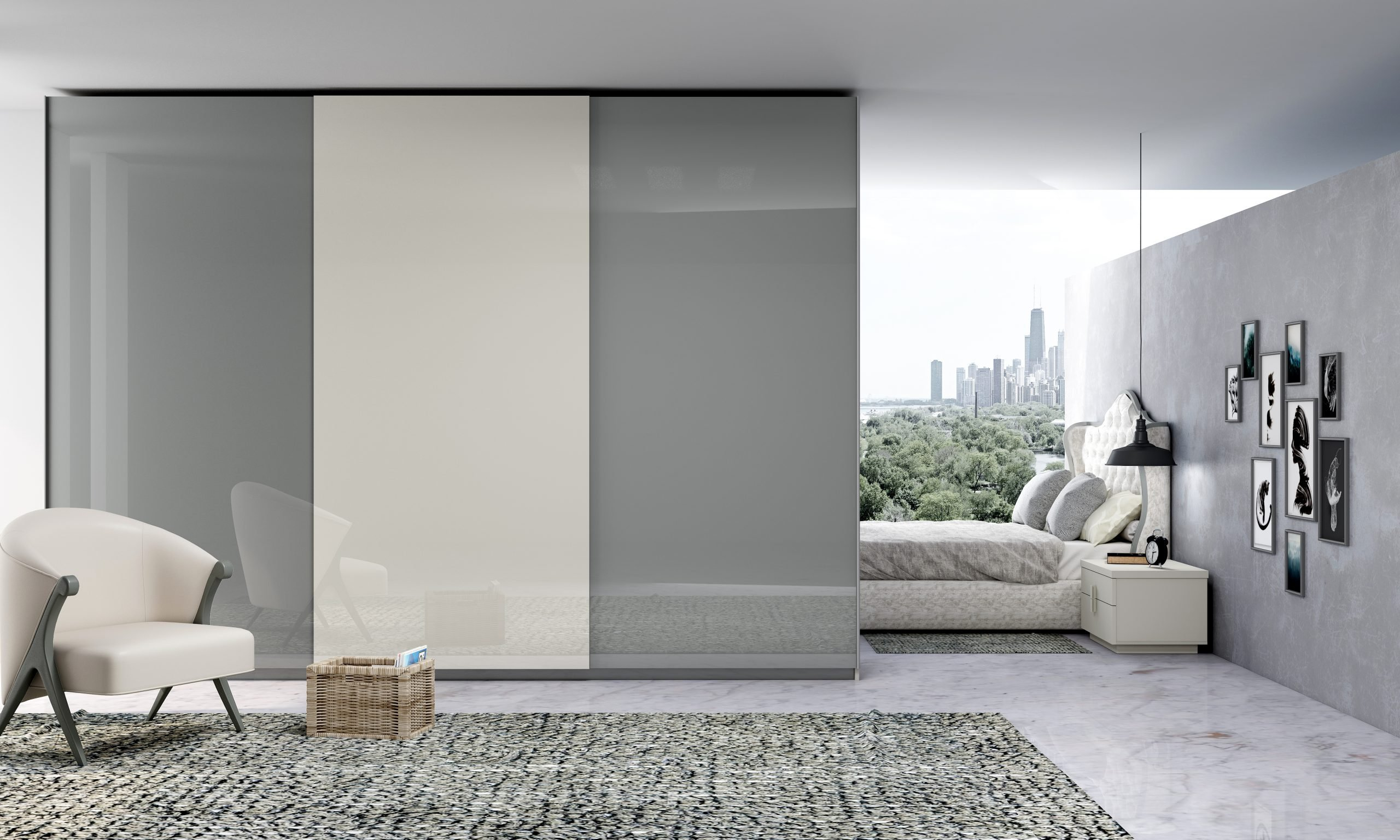 Fitted Sliding Wardrobe with Frameless Top hung Doors in Combination of Dust Grey and White Gloss