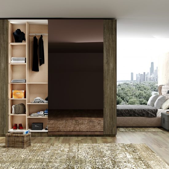 Fitted sliding door wardrobe with frameless top hung doors in combination of Wood grain and Back Smoked mirror finish