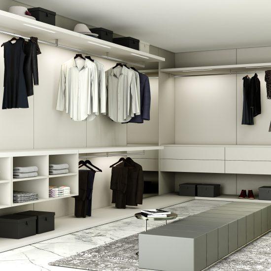 Luxury Fitted Walk-in Wardrobe in Light Grey Matt Finish