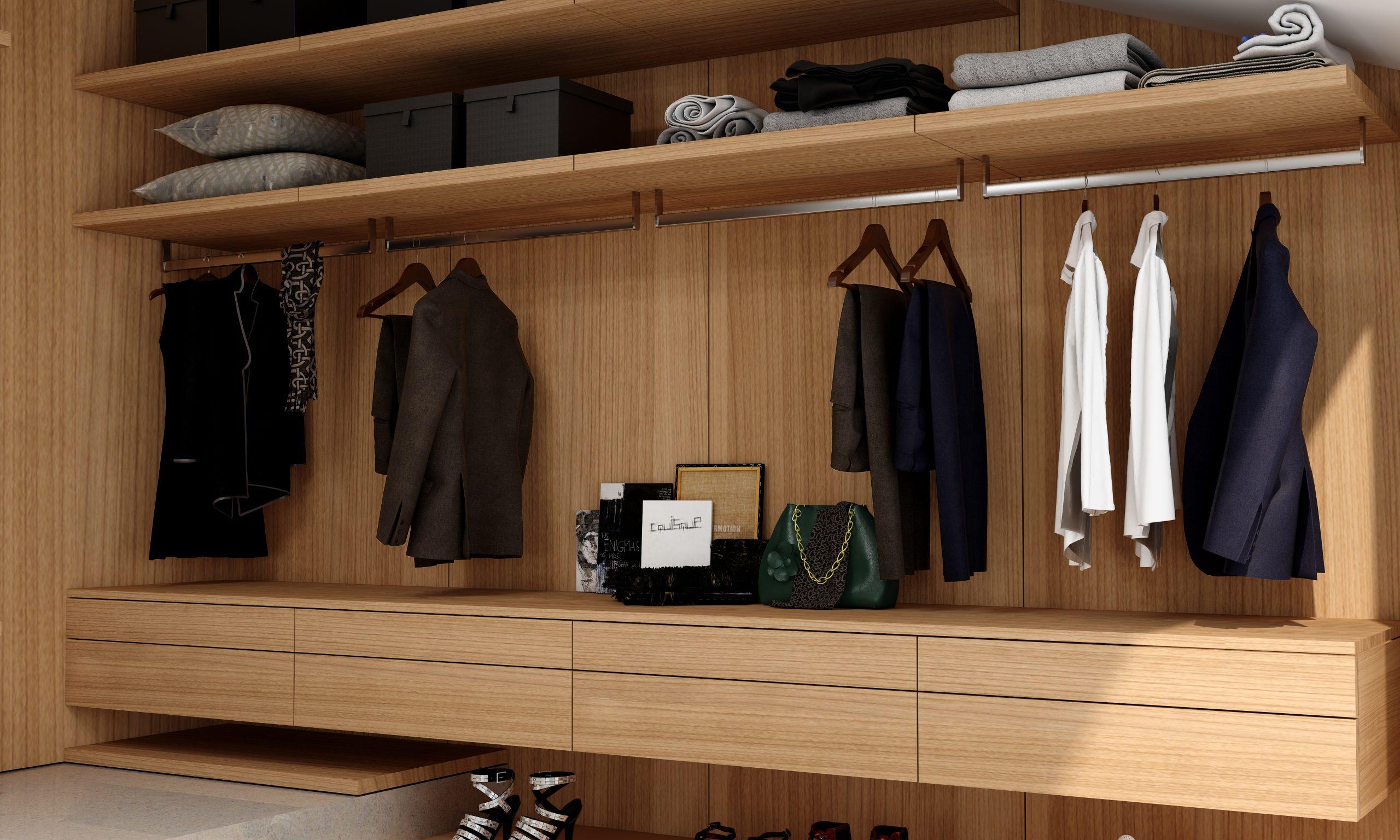 Luxury Walk-in Wardrobe in Woodgrain  Cherry Finish