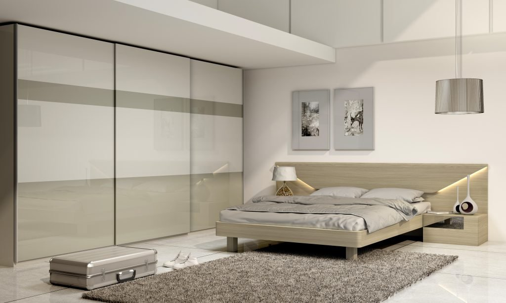 Gloss Bedroom Fitted frameless sliding wardrobe with top hung doors in Light grey high gloss and Khaki grey acrylic gloss finish