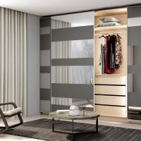 Framless Fitted Sliding Door Wardrobe in Silver Grey and Silver Mirrors Combination