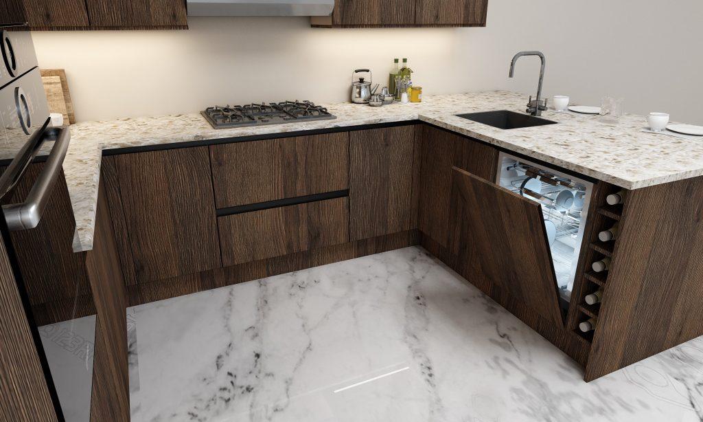 G shape Handleless Kitchen in Gladstone Oak with black handleless profile_2 (1)