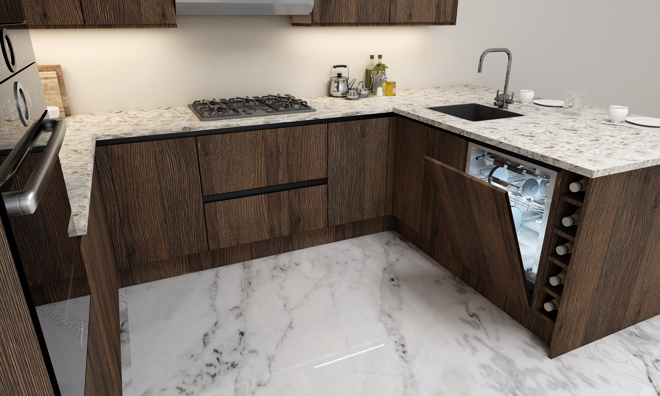 G shape Handleless Kitchen in Gladstone Oak with black handleless profile
