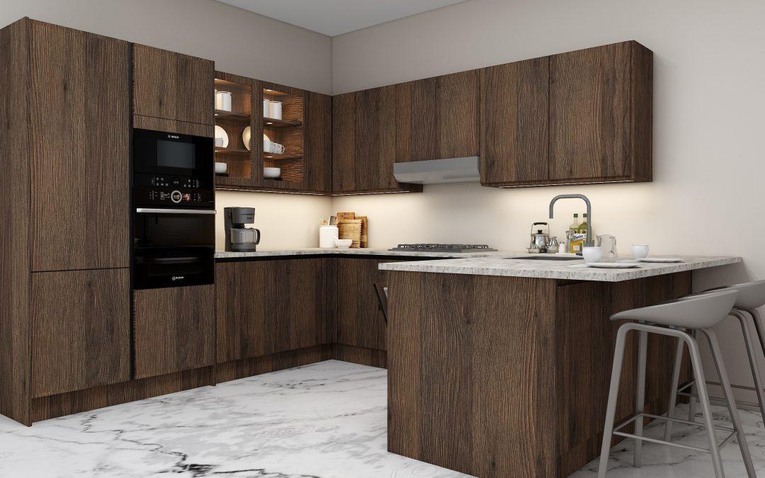 G shape Handleless Kitchen in Gladstone Oak with black handleless profile_3 (1)
