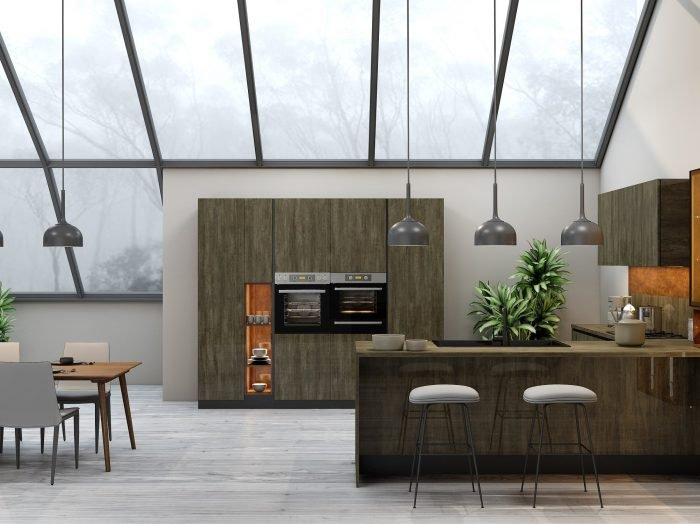 https://www.inspiredelements.co.uk/wp-content/uploads/2021/04/G-shape-Handleless-Kitchen-in-Metallo-gloss-finish-Copper-stone-finish-with-black-handle-profile-1-700x524.jpg