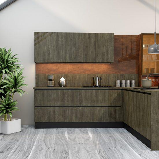 G shape Handleless Kitchen in Metallo gloss finish & Copper stone finish with black handle profile_1 (1)