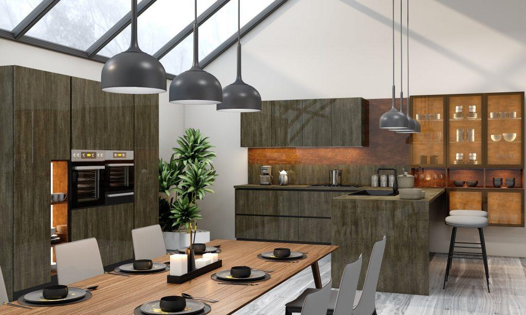 G shape Handleless Kitchen in Metallo gloss finish & Copper stone finish with black handle profile_2 (1)