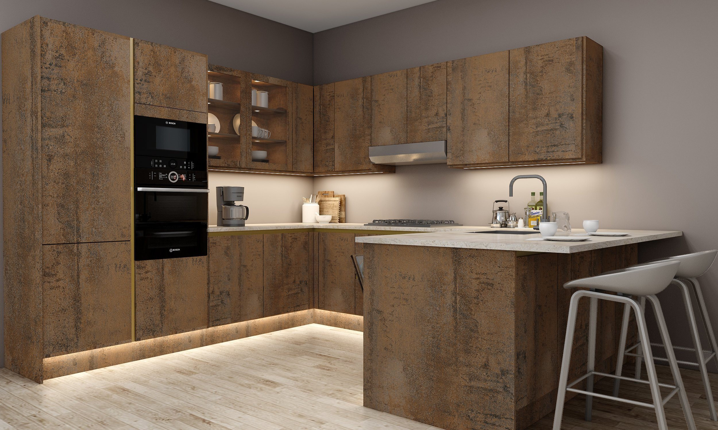 G Shape Handleless Kitchen in Oxide Finish with Gold Gandleless profile