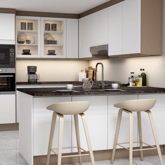 G shape Handleless Kitchen in White matt & Pebble finish with Aluminium handle profile