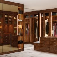 Glass Framed Hinged wardrobe in copper stone high gloss finish with mirror back & Dressing island
