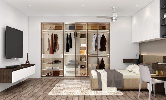Glass sliding wardrobe