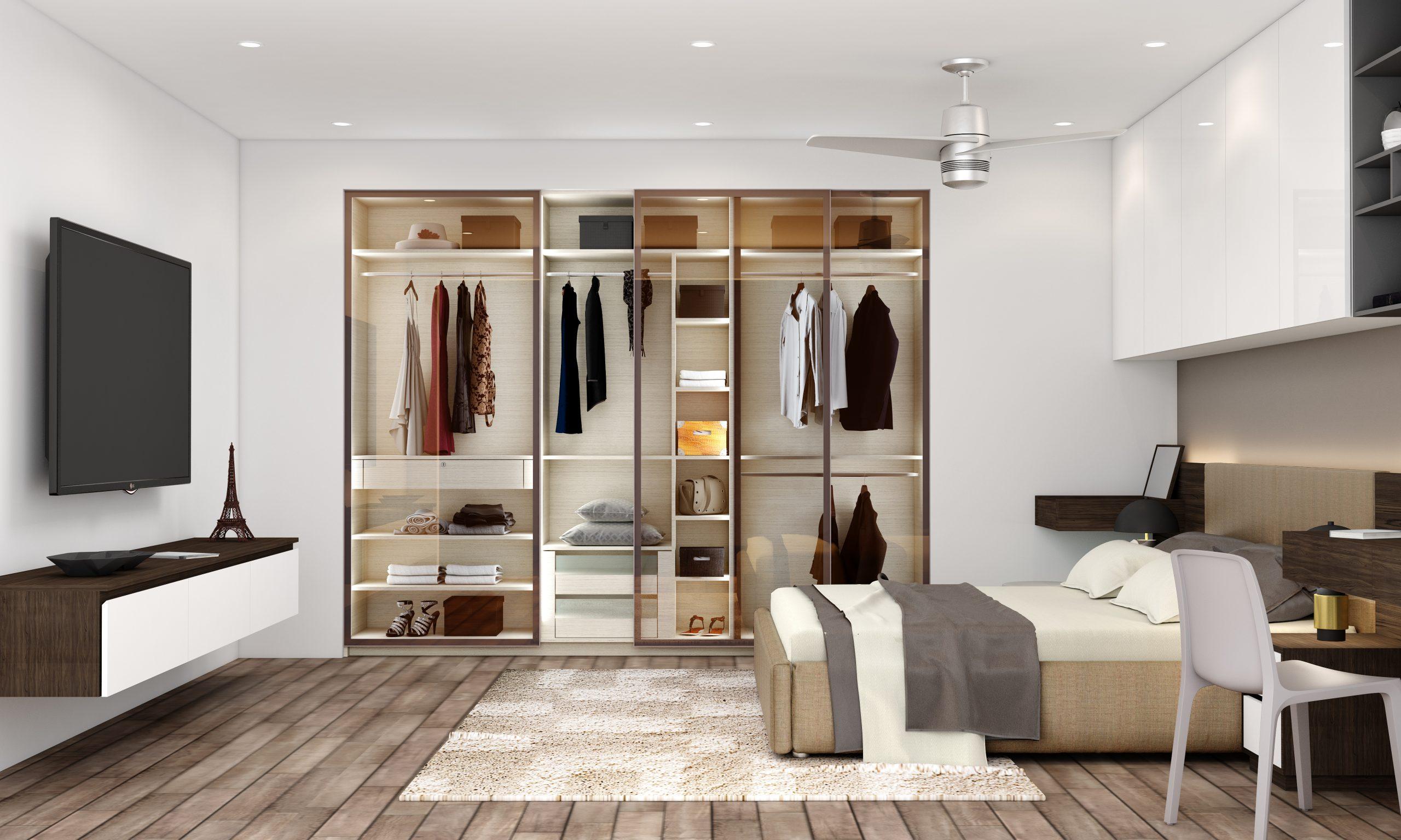 Glass sliding wardrobe with TV Unit