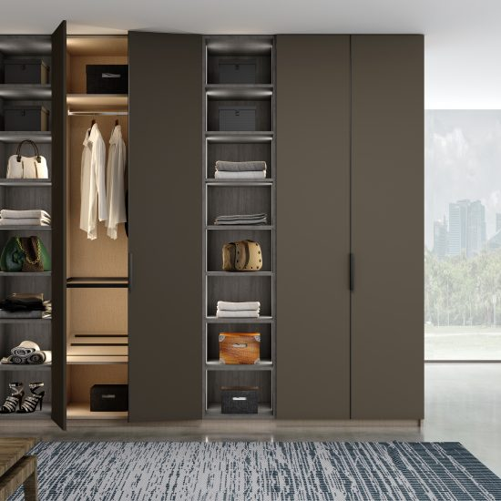 Hinged Fitted Wardrobe With Open Shelf Unit in Lava Grey and Sherwood Textured Finish
