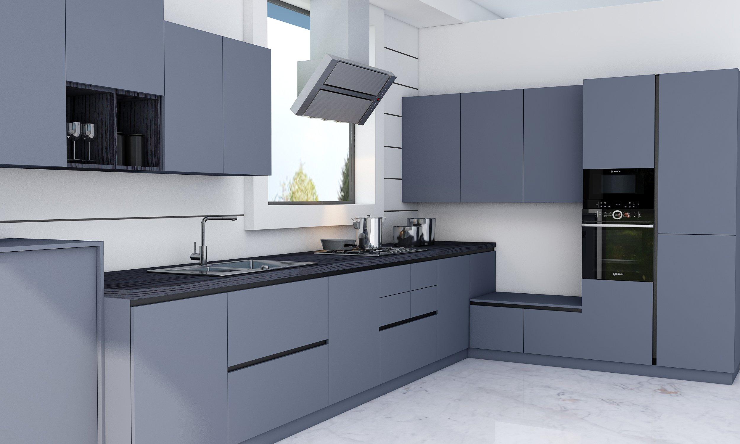 Smoke Blue Handle Less Kitchen With Black Handle Profile