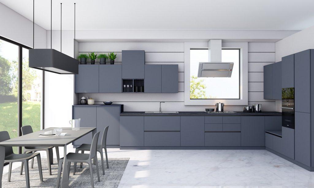 Handleless Kitchen in smoke blue finish wit black handlless profile (2)