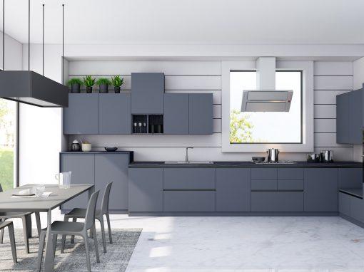 Handleless Kitchen in Smoke Blue Finish With Black Finish