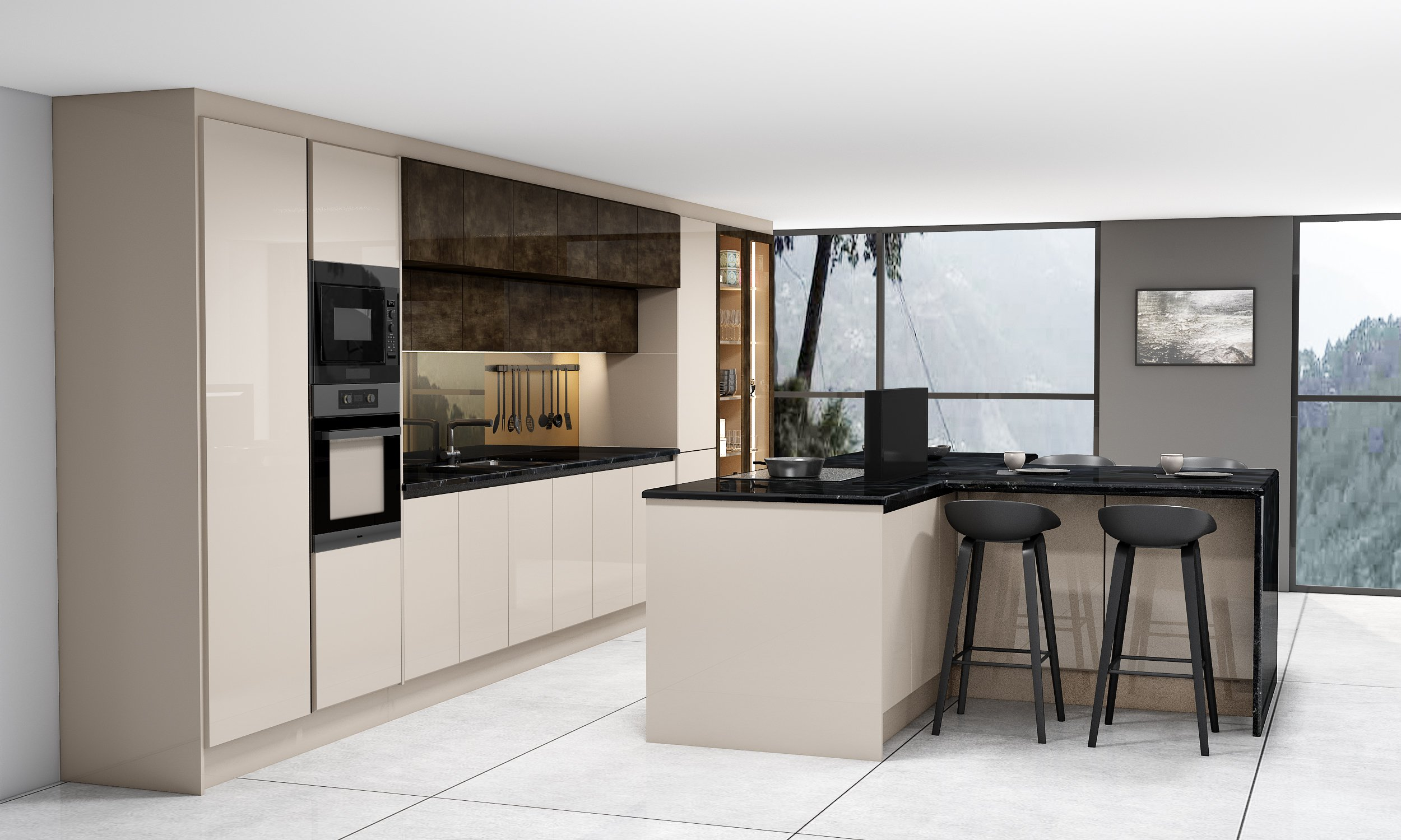 Handleless Kitchen With Black Handle Profile in Cashmere Grey Gloss Finish