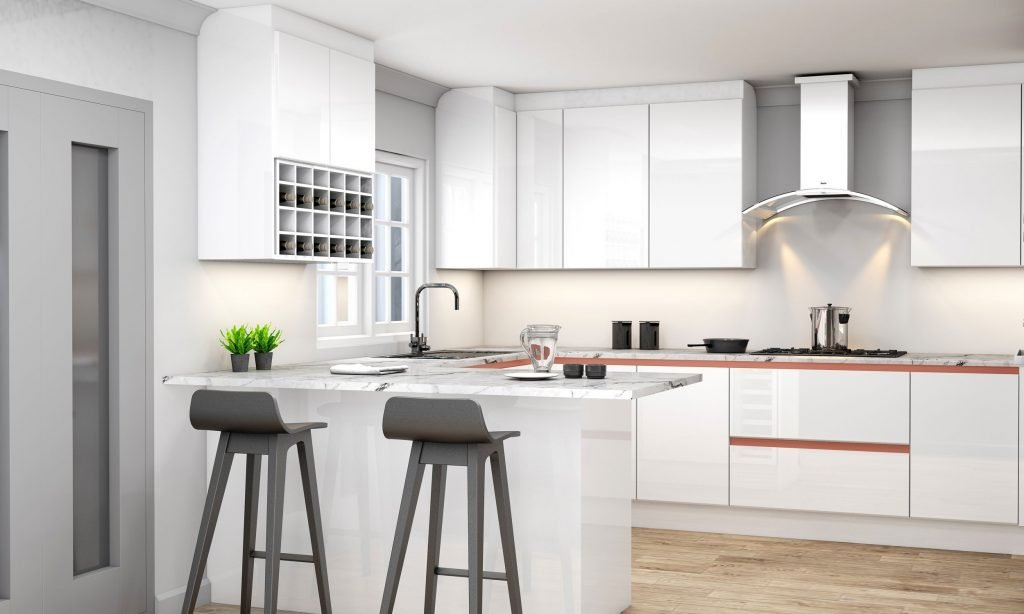 Handleless g shape Kitchen in Brass handle profile with high gloss white and concrete finish_Wine rack_1 (1)