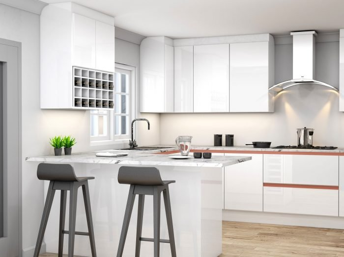 https://www.inspiredelements.co.uk/wp-content/uploads/2021/04/Handleless-g-shape-Kitchen-in-Brass-handle-profile-with-high-gloss-white-and-concrete-finish_Wine-rack_1-1-700x524.jpg