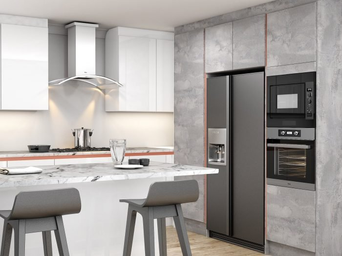 https://www.inspiredelements.co.uk/wp-content/uploads/2021/04/Handleless-g-shape-Kitchen-in-Brass-handle-profile-with-high-gloss-white-and-concrete-finish_Wine-rack_3-1-700x524.jpg