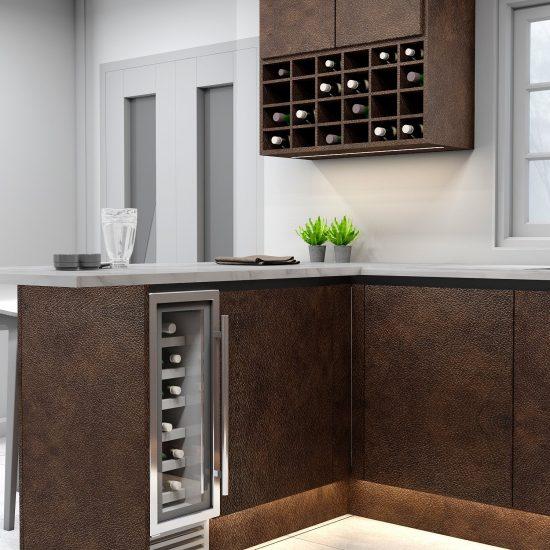 Handleless g shape Kitchen in black handle profile with Maya bronze textured finish finish_Wine rack (1)