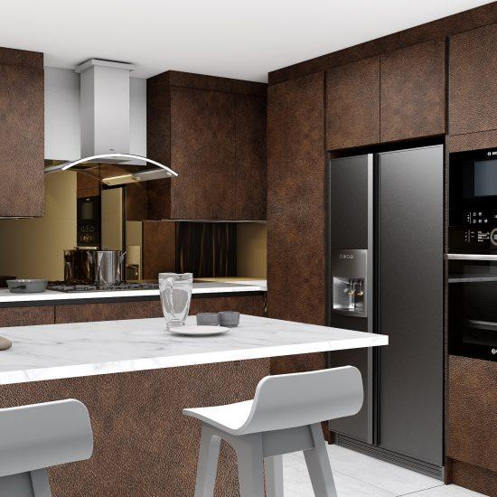 Handleless g shape Kitchen in black handle profile with Maya bronze textured finish finish_Wine rack (4)