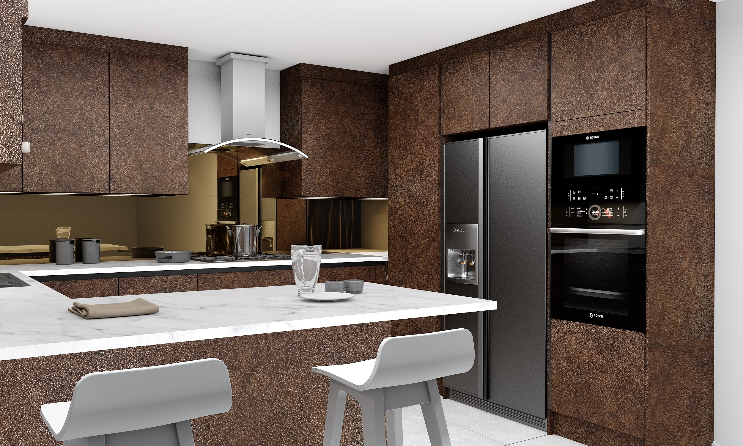 Bronze finish handlless kitchen with bronze splashback and white granite worktop.