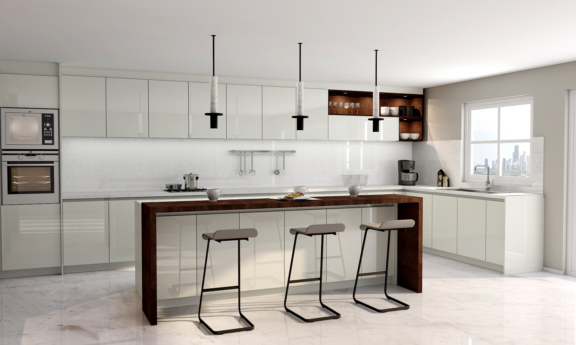 Handlless Modern Kitchen in Lights Grey Gloss With Island and Breakfast Bar