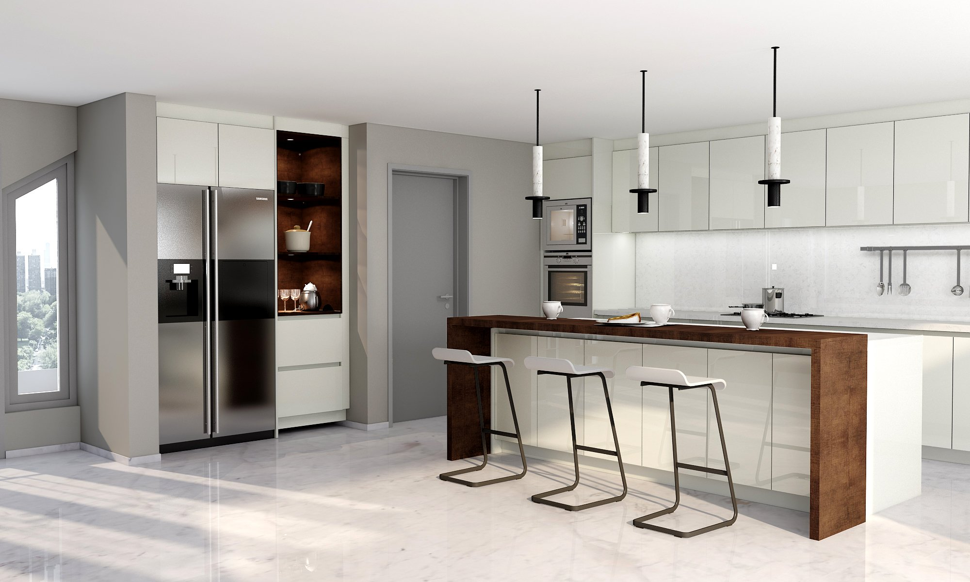 Handlless Kitchen in Lights Grey Gloss With Island and Breakfast Bar