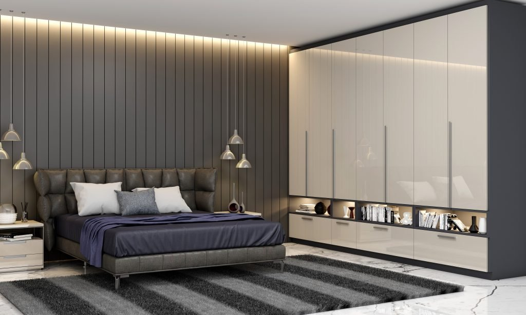Hinged Fitted Wardrobe With Open Shelves in Light Grey High Gloss and Indigo Blue Matt Finish