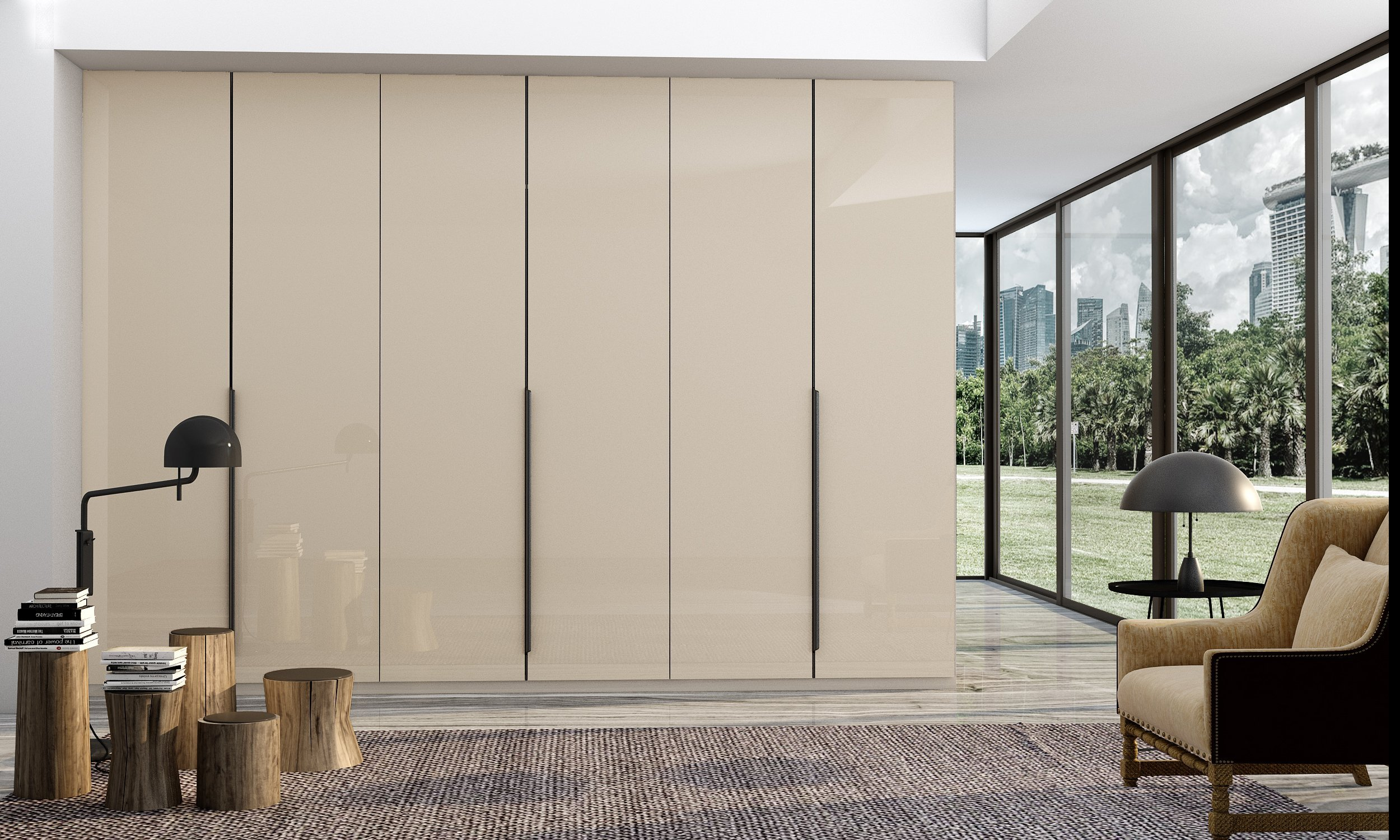 Hinged Fitted Wardrobe in Cashmere High Gloss Finish With Black Profile Handles