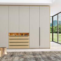 Hinged wardrobe with chest drawers in perfect matt light grey and woodgrain Kaiserberg oak finish