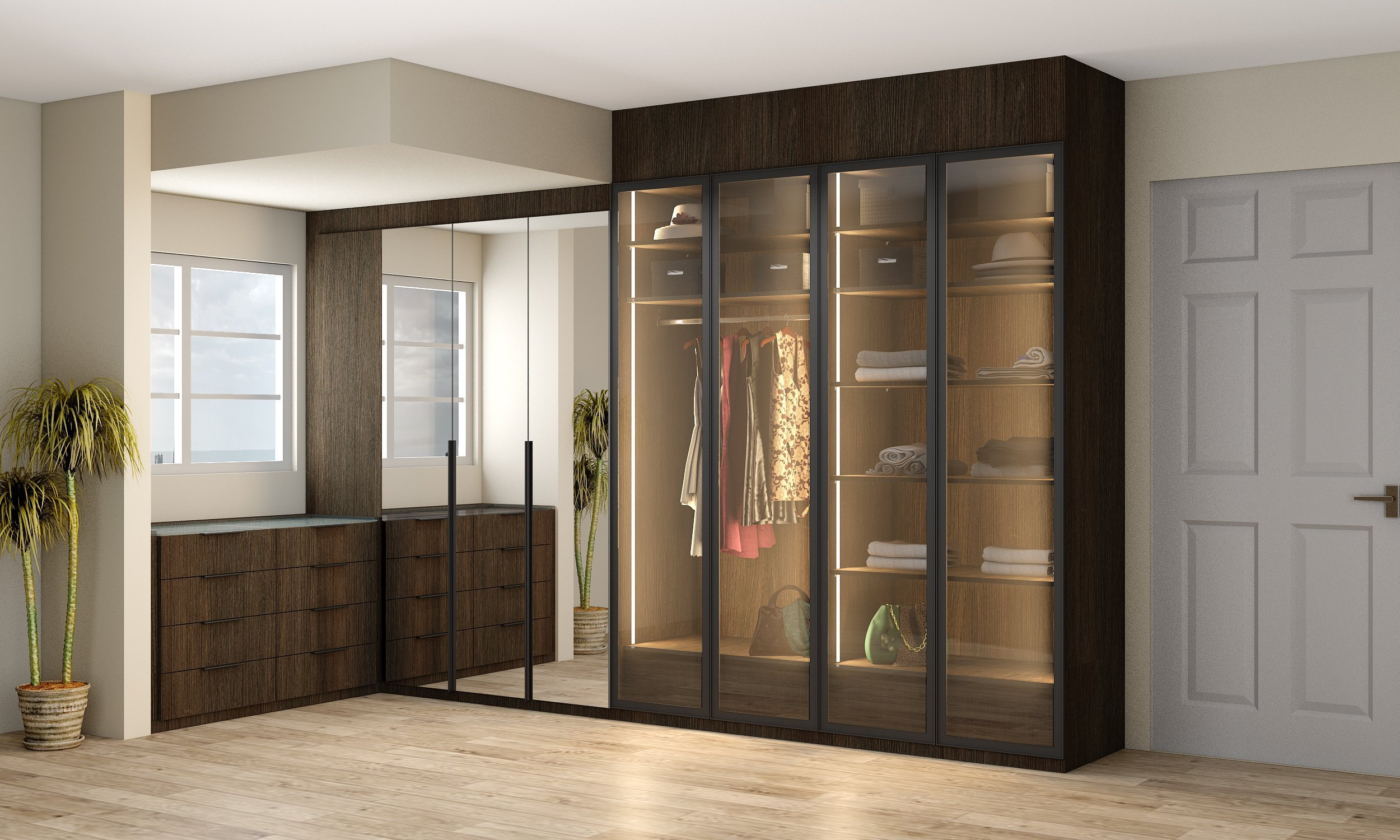 Small Linear Glass Wardrobe in Dark Wood Oak Finish With Chest of Drawers