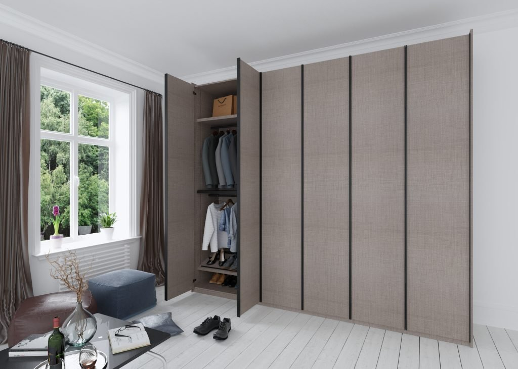 Linear wood fitted wardrobe with Aluminium profile handle with a beige textile finish.