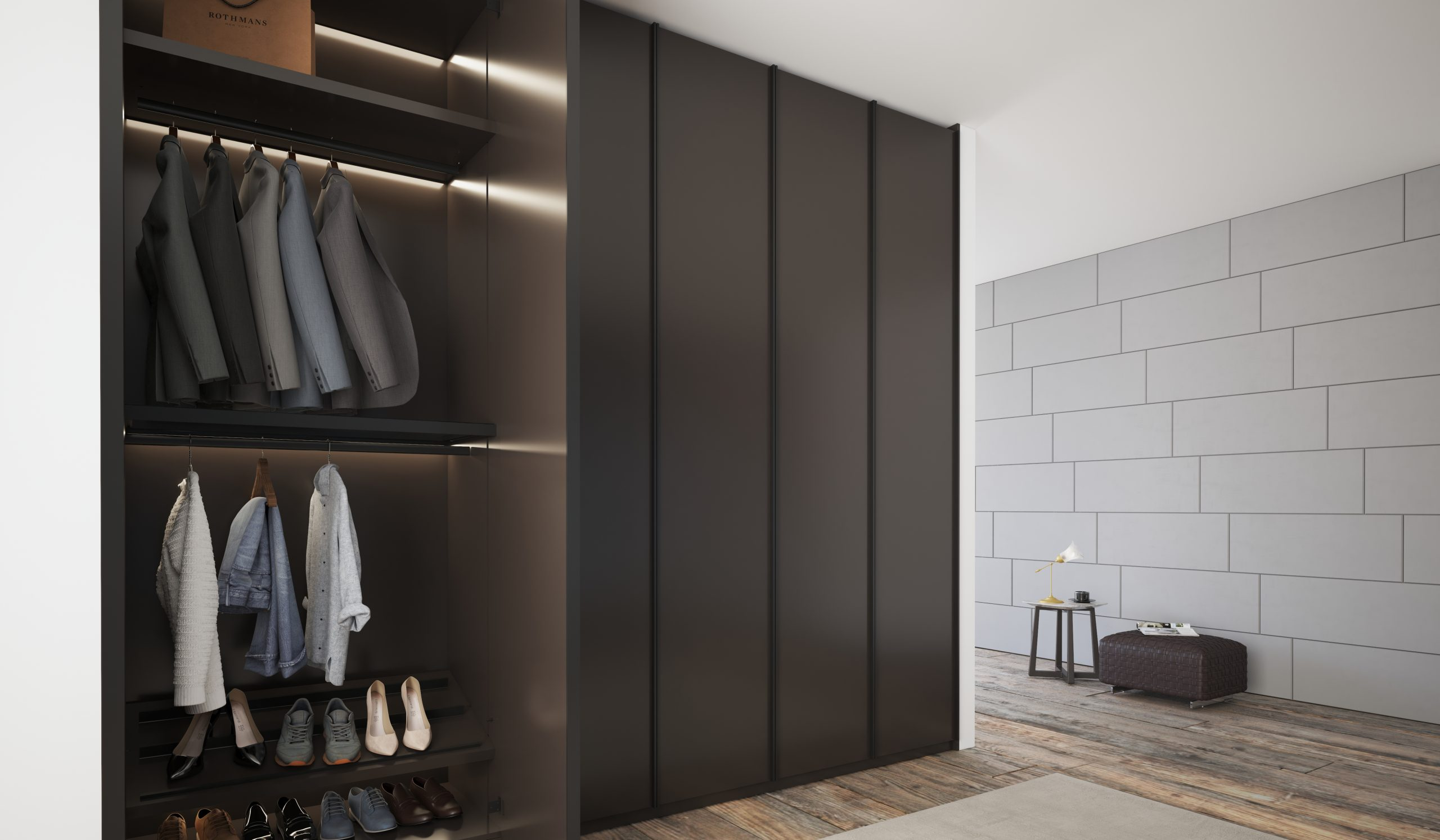Linear Wood Fitted Hinged Wardrobe in Dark Grey Finish