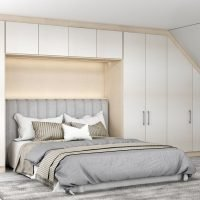 Bedroom of Loft Fitted Wardrobe in Cream Leather Texture and Cashmere Finish