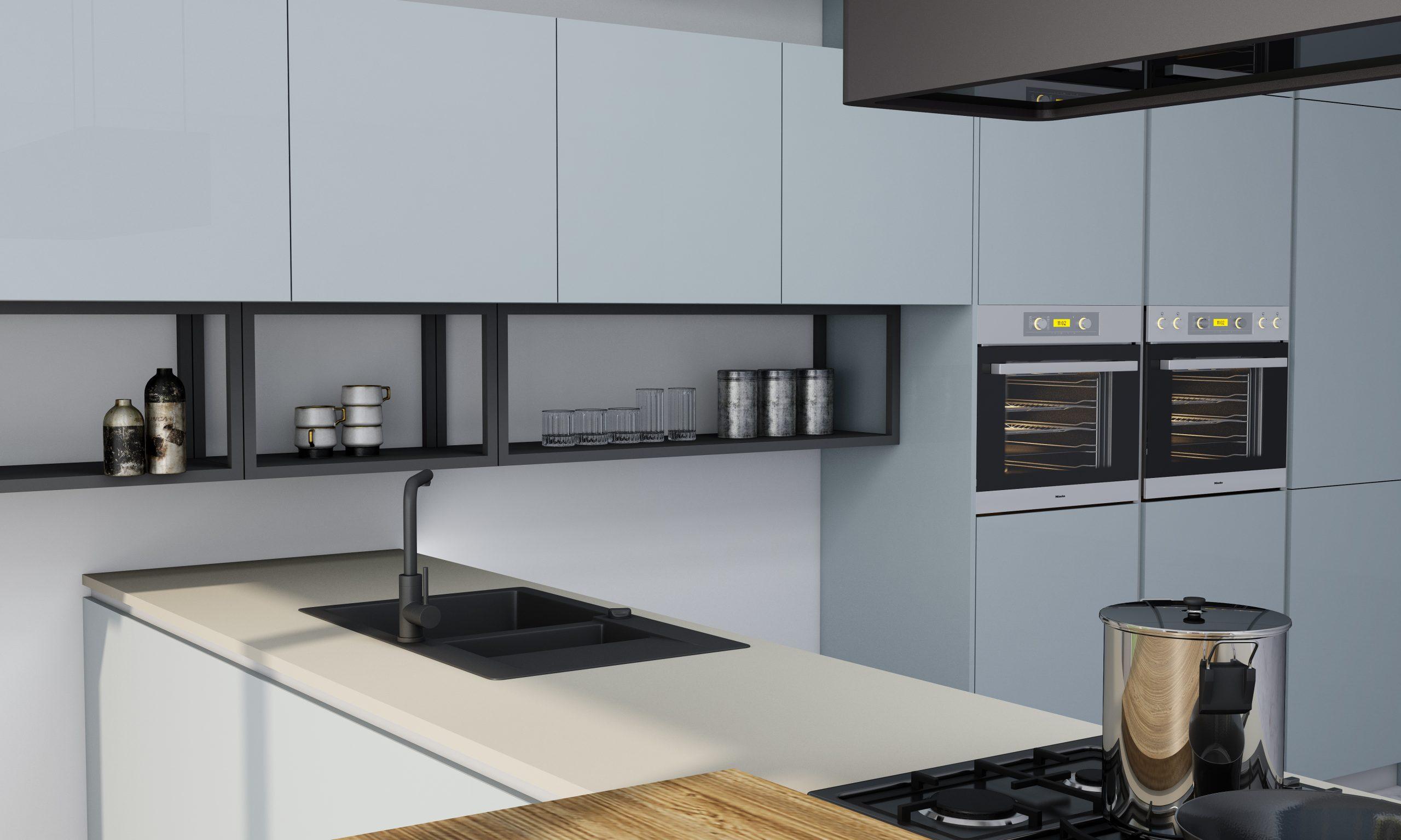 Premiumline Kitchen in Aluminium Handleless Profile With Dining Area Finish Metallic Blue Gloss Acrylic