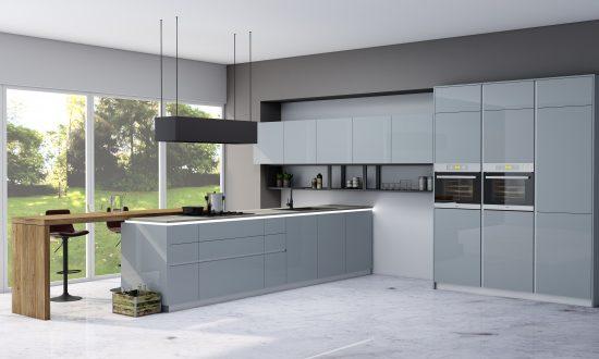 Premiumline kitchen in aluminium handleless profile with dining area finish Metallic blue gloss acrylic (3)