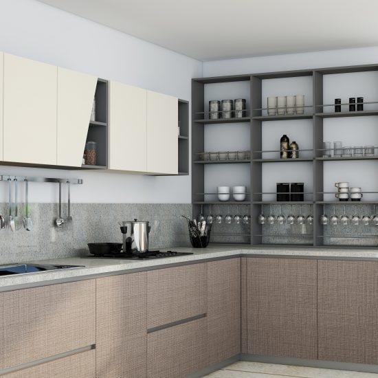 Premiumline kitchen with Aluminium handleless profile in Cannella textured Penelop and cream matt finish (1)