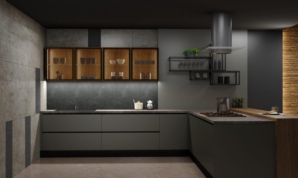 Premiumline handleless kitchen with Black handleless profile in onxy dark grey matt and woodgrain oak finish